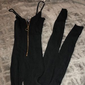 Fashion Nova black tight jumpsuit
